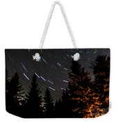 Star Trails Above Spruce Tree Line Weekender Tote Bag by Darcy Michaelchuk