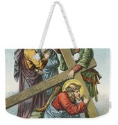 Station Vii Jesus Falls Under The Cross The Second Time Weekender Tote Bag