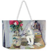 Statuette By Maillol And Red Roses Weekender Tote Bag