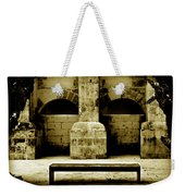Stone Face - Limestone Windows Column And Bank Create A Misterious Face Weekender Tote Bag