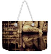 stone in reflexion - Statue reflected in a sea of doubt in vintage process Weekender Tote Bag