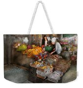 Storefront - Hoboken Nj - Picking Out Fresh Fruit Weekender Tote Bag by Mike Savad