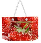 Strawberries In Water Close Up Weekender Tote Bag