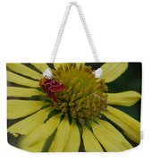 Strawberry Moth On A Yellow Flower Weekender Tote Bag