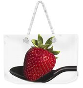 Strawberry On A Black Spoon Against White No.0003 Weekender Tote Bag