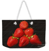 Strawberry Pyramid On Black Weekender Tote Bag by Andee Design