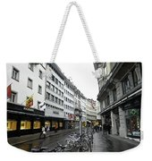 Street In Lucerne With Cycles And Rain Weekender Tote Bag