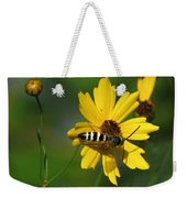 Striped Bee On Wildflower Weekender Tote Bag