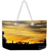 Stripey Sunset Silhouette Weekender Tote Bag