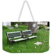Summer Bench And Dandelions Weekender Tote Bag by Lorraine Devon Wilke