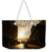 Summer Sunset Over A Cobblestone Street - New York City Weekender Tote Bag