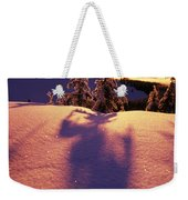 Sun Casting Shadows On Snow Covered Weekender Tote Bag