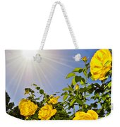 Sunflare And Yellow Roses Weekender Tote Bag by Amber Flowers