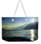 Sunlight Over A Lake With Mountain Weekender Tote Bag