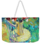Sunny Impressionistic Rose Flowers Still Life Painting Weekender Tote Bag