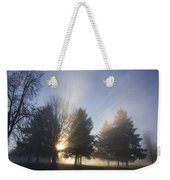 Sunray Through Trees And Fog Weekender Tote Bag