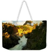 Sunrise On A Waterfall At Glacier  Weekender Tote Bag