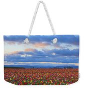 Sunrise Over A Tulip Field At Wooden Weekender Tote Bag