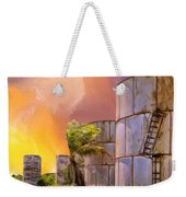Sunset And Abandoned Oil Tanks Weekender Tote Bag