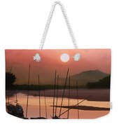 sunset at Mae Khong river Weekender Tote Bag