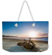 Sunset Over A Misty Beach Weekender Tote Bag
