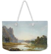 Sunset Over A River Landscape Weekender Tote Bag by Francis Danby