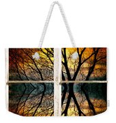 Sunset Tree Silhouette Abstract Picture Window View Weekender Tote Bag