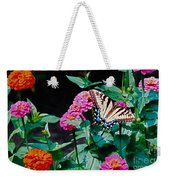 Swallowtail Among The Zinnias Weekender Tote Bag