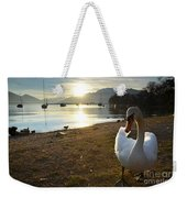 Swan On The Beach Weekender Tote Bag