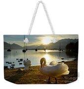Swans In Sunset Weekender Tote Bag