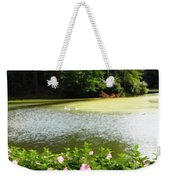 Swans On Pond And Hibiscus With Oil Painting Effect Weekender Tote Bag