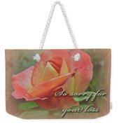 Sympathy Greeting Card - Peach Rose Weekender Tote Bag