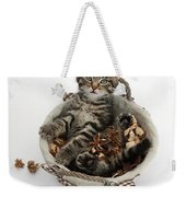 Tabby Kitten In Potpourri Basket Weekender Tote Bag