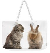 Tabby Kitten With Young Rabbit, Grooming Weekender Tote Bag