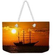 Tall Ship At Sunset Weekender Tote Bag