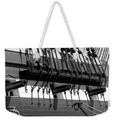 Tall Ship Canons Black And White Weekender Tote Bag