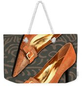 Tan Ostrich With Golden Buckles Weekender Tote Bag