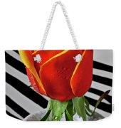 Tea Rose In Striped Vase Weekender Tote Bag