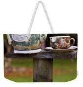 Teapot And Tea Cup On Old Post Weekender Tote Bag
