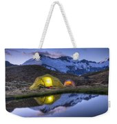 Tents Lit By Flashlight On Cascade Weekender Tote Bag