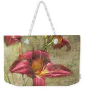 Textured Red Daylilies Weekender Tote Bag