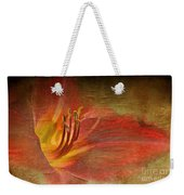 Textured Red Daylily Weekender Tote Bag