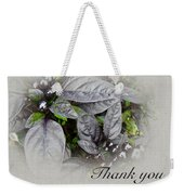 Thank You Card - Silver Leaves And Berries Weekender Tote Bag