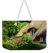 Thatched Cottage With Pink Flowers Weekender Tote Bag