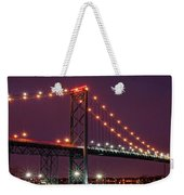 The Ambassador Bridge At Night - Usa To Canada Weekender Tote Bag by Gordon Dean II