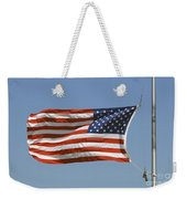 The American Flag Waves At Half-mast Weekender Tote Bag