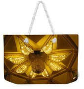 The Beautifully Lit Chandelier On The Ceiling Of The Iskcon Temple In Delhi Weekender Tote Bag