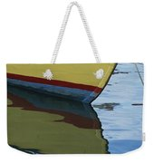 The Bow Of An Anchored, Striped Boat Weekender Tote Bag