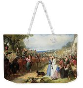The Girls We Left Behind Us - The Departure Of The 11th Hussars For India Weekender Tote Bag by Thomas Jones Barker
