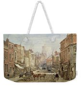 The Household Cavalry In Peascod Street Windsor Weekender Tote Bag by Louise J Rayner